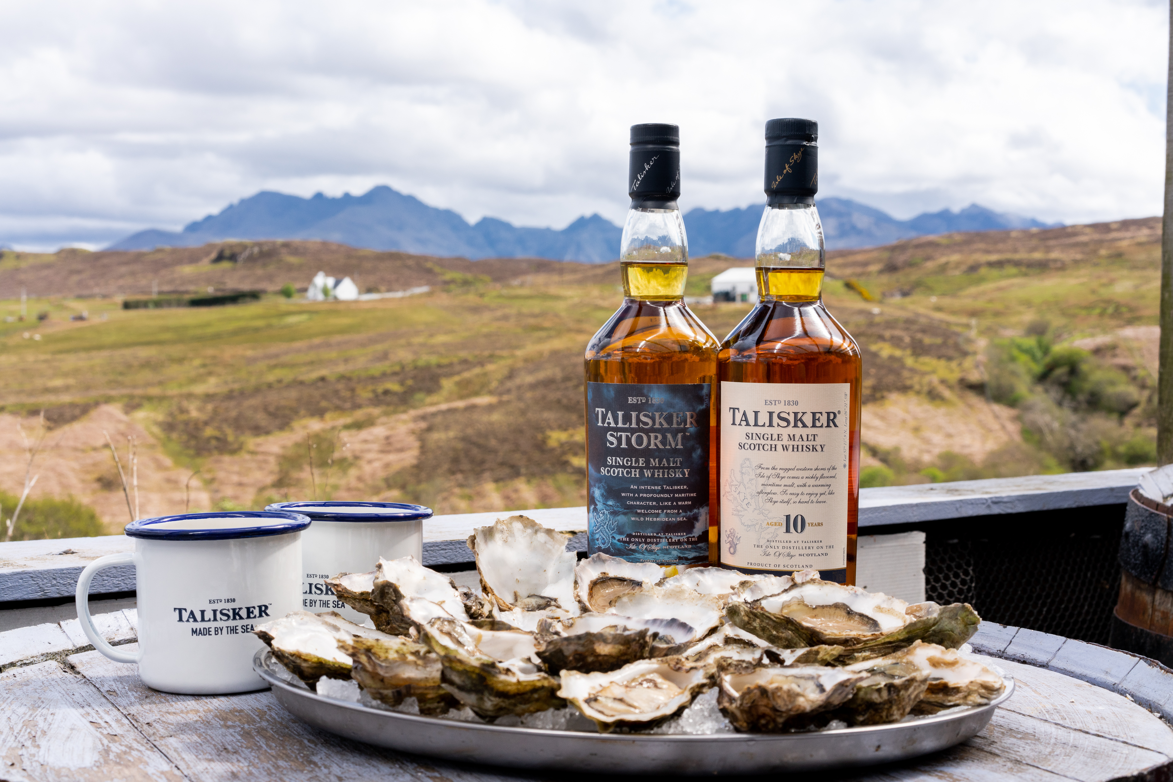talisker isle of sky with oysters